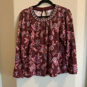 Old Navy Maroon Paisley Floral Blouse